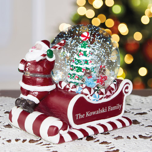 Personalized Santa on Sled Musical Snow Globe