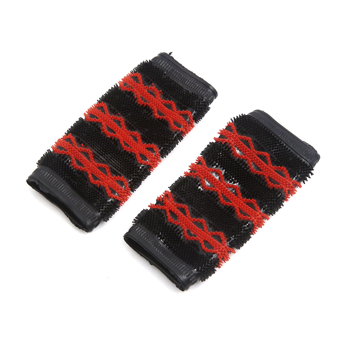 Black Red Motorcycle Scooter Rubber Antislip Cover Handlebar Grip Pair