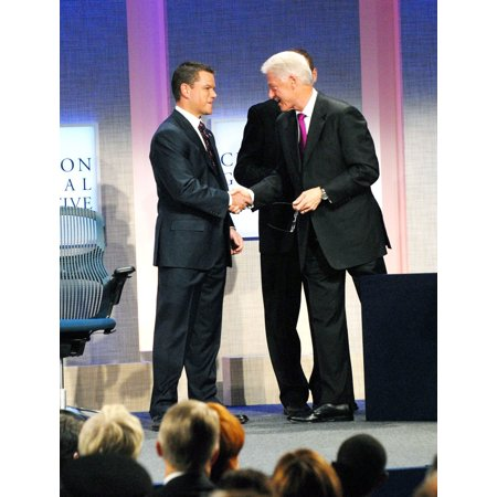 Matt Damon Former President Bill Clinton At A Public Appearance For 2009 Annual Meeting Of The Clinton Global Initiative - Opening Plenary Sheraton New York Hotel And Towers New York Ny September 22