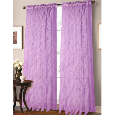 """1pc Lilac Cascade Elegant Crushed Voile Sheer Window Curtain Panel 55"""" x 84"""""""