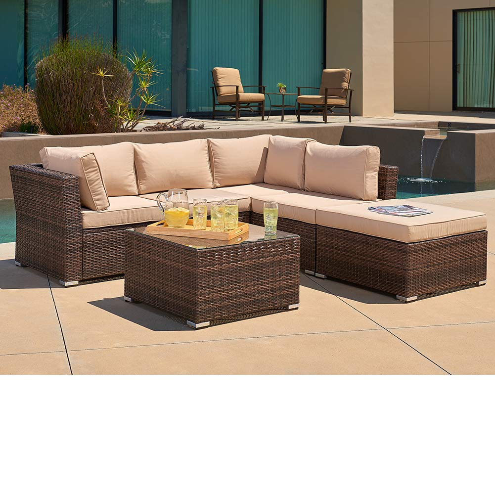 SUNCROWN Outdoor Furniture Sectional Sofa (4 Piece Set) All Weather Brown  Checkered Wicker With Beige Washable Seat Cushions U0026 Glass Coffee Table