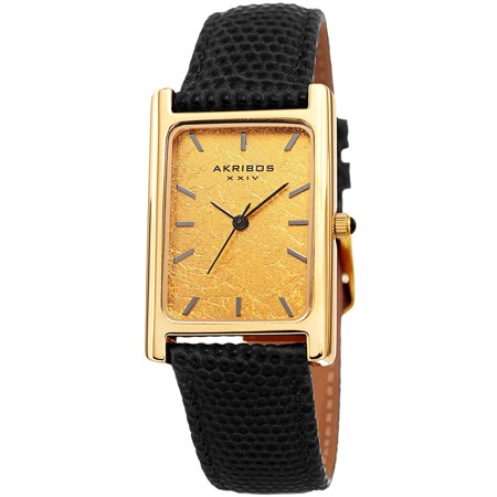 Akribos Xxiv Mens Automatic Watch - Akribos XXIV  Men's Sleek Rectangular Black Leather Strap Watch