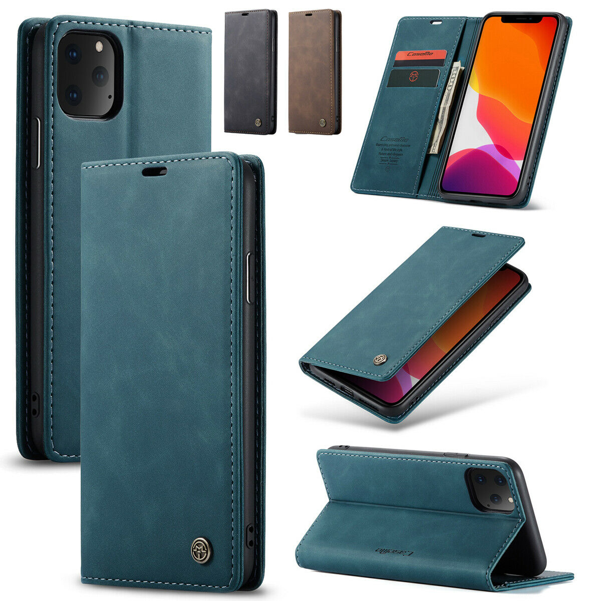 Brown Leather Cover Wallet for iPhone 11 Pro Max Simple Flip Case Fit for iPhone 11 Pro Max