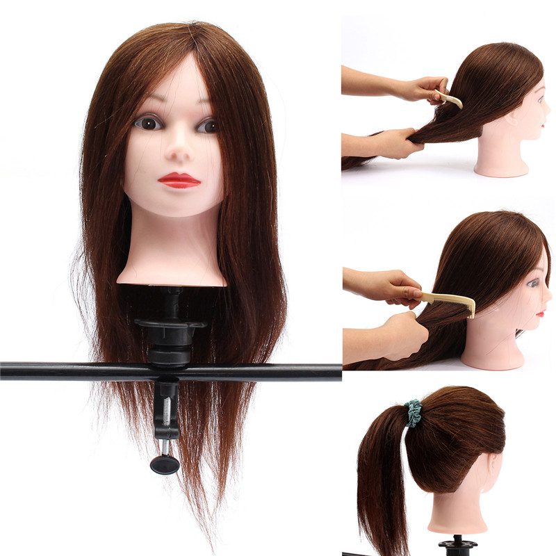 "22"" 100% Real Hair  Salon Hairdressing Mannequin Practice..."