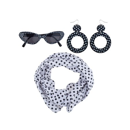 Lux Accessories Black White Polka Dot Sunglasses Scarf Earrings 50's Costume Set - 50's Fashion Ideas