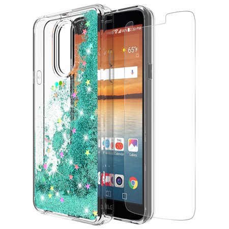 LG Stylo 4 Case, LG Q Stylus Case With Tempered Glass Screen Protector, KAESAR SLIM SLEEK Quicksand Glitter Sparkly Bling Cute Liquid Soft Bumper Protective Cover for LG Stylo 4 (Teal) (Verizon Lg G2 Bling Case)