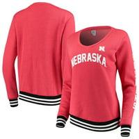 Nebraska Cornhuskers Blue 84 Women's Emily Varsity Banded V-Neck Pullover Sweatshirt - Scarlet