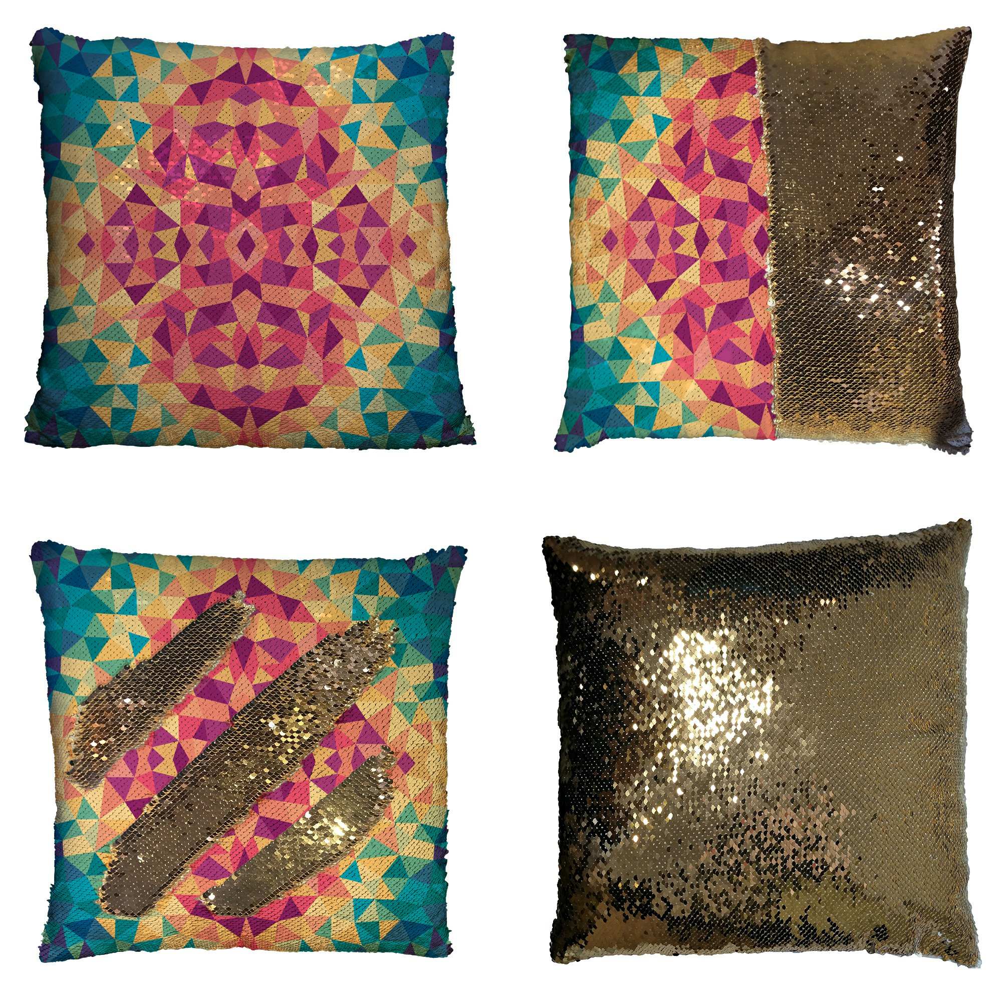 GCKG Diamond Shape Pillowcase, Multicolored Geometric Design Reversible Mermaid Sequin Pillow Case Home Decor Cushion Cover 16x16 inches