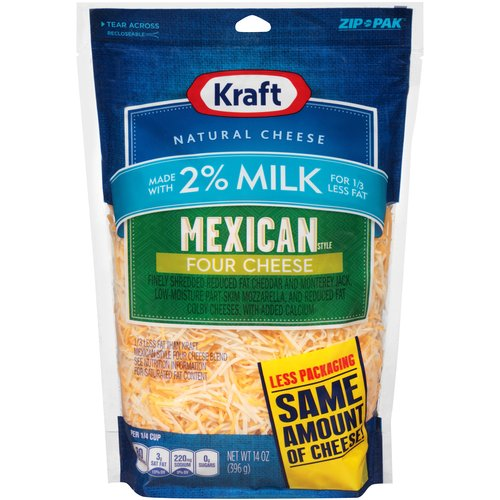 Kraft Finely Shredded Mexican Style Four Cheese Blend Made with 2% Milk 14 oz. ZIP-PAK®