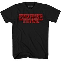 Netflix Mens Stranger Things Logo Shirt - Joyce Byers, Jim Hopper, Mike Wheeler & Eleven Tee Stranger Things T-Shirt (Black, X-Large)
