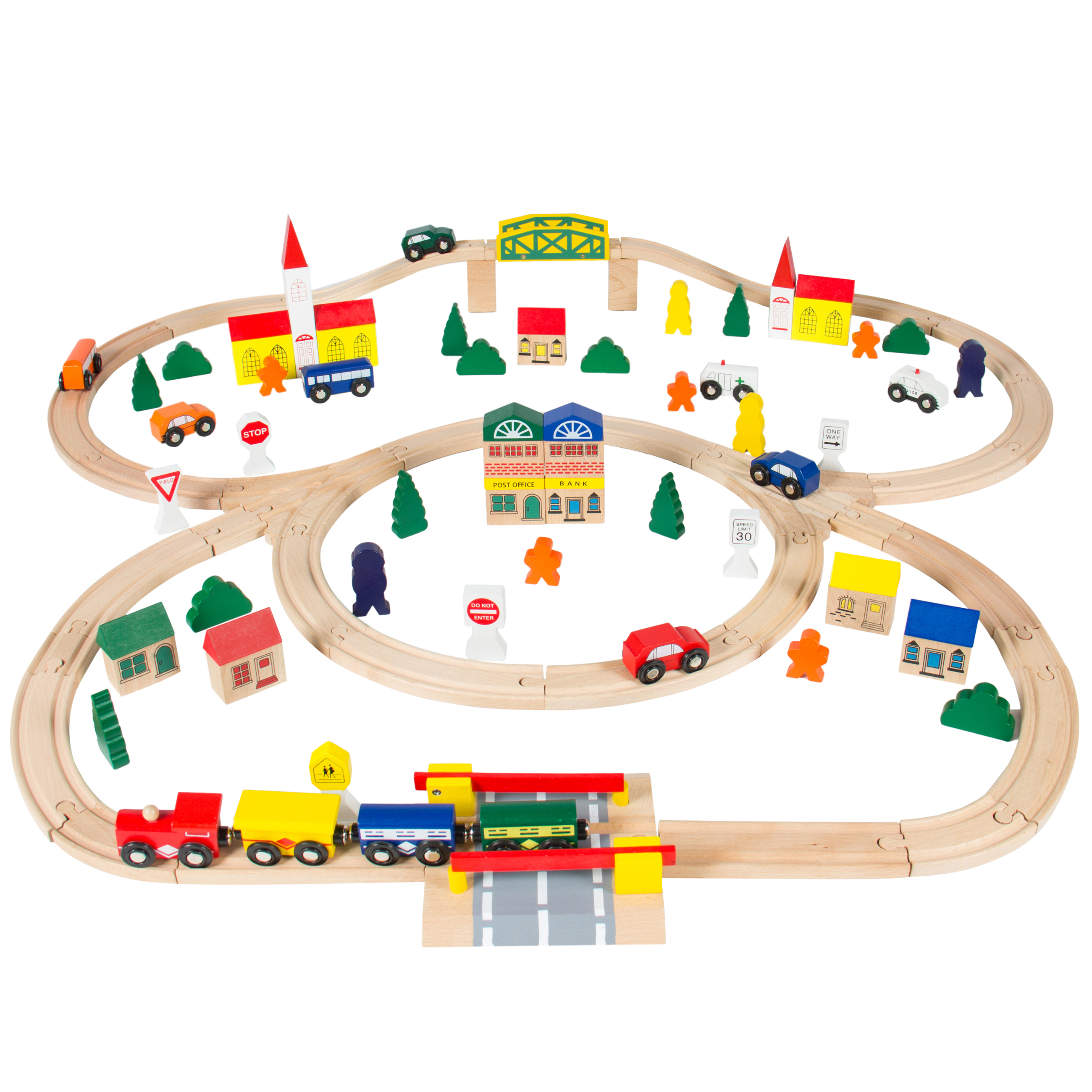 Best Choice Products 100-Piece Kids Hand Crafted Wooden Toy Play Train Track Set w/ Triple Loop Railway - Multicolor