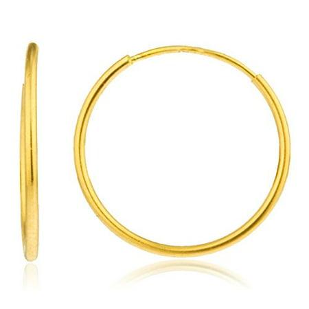 Real 14k Gold 1mm Endless Hoop Earrings - Available in Various Sizes (14 Millimeters) 14k 1mm Hoop Earrings