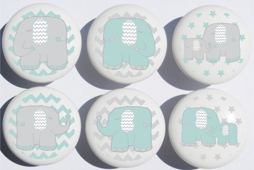 Cute Nursery Baby Blue Bottle Doll Toy Nursery Ceramic Knob Pull Drawer Cupboard