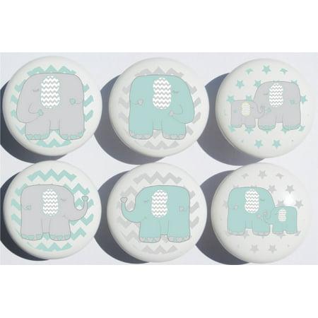 Seafoam Green Elephant Drawer Pulls / Elephant Nursery Decor Ceramic Cabinet Drawer Knobs, 6 Set Drawer Pulls Knobs Set