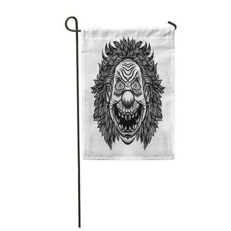 KDAGR Scary Cartoon Clown Blackwork Adult Flesh Tattoo Horror Movie Zombie Face Character Garden Flag Decorative Flag House Banner 12x18 inch](Scary Characters)