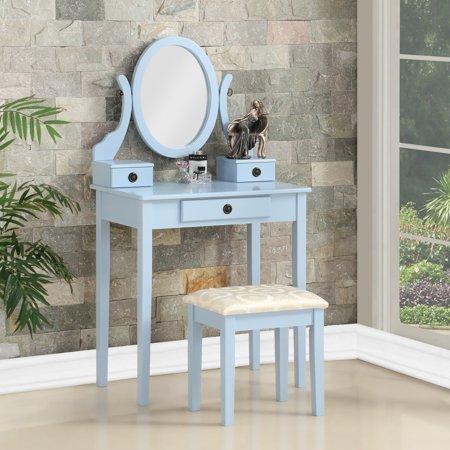 Roundhill Moniya Wood Makeup Vanity Table and Stool Set, Blue (Adult Vanity)