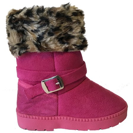 Fourever FUnky Super Furry Leopard Girls Muggs Vegan Winter Boots (9) - Furry Girl