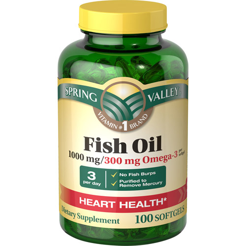 Spring Valley Regular Strength 1000mg Fish Oil Softgels, 100ct