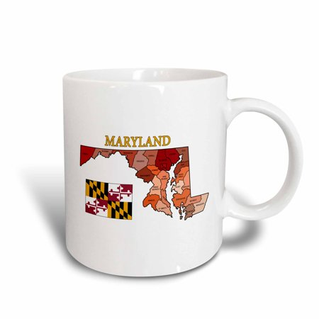 Colored Ceramic - 3dRose Flag and map of Maryland with each county colored and labeled - Ceramic Mug, 11-ounce