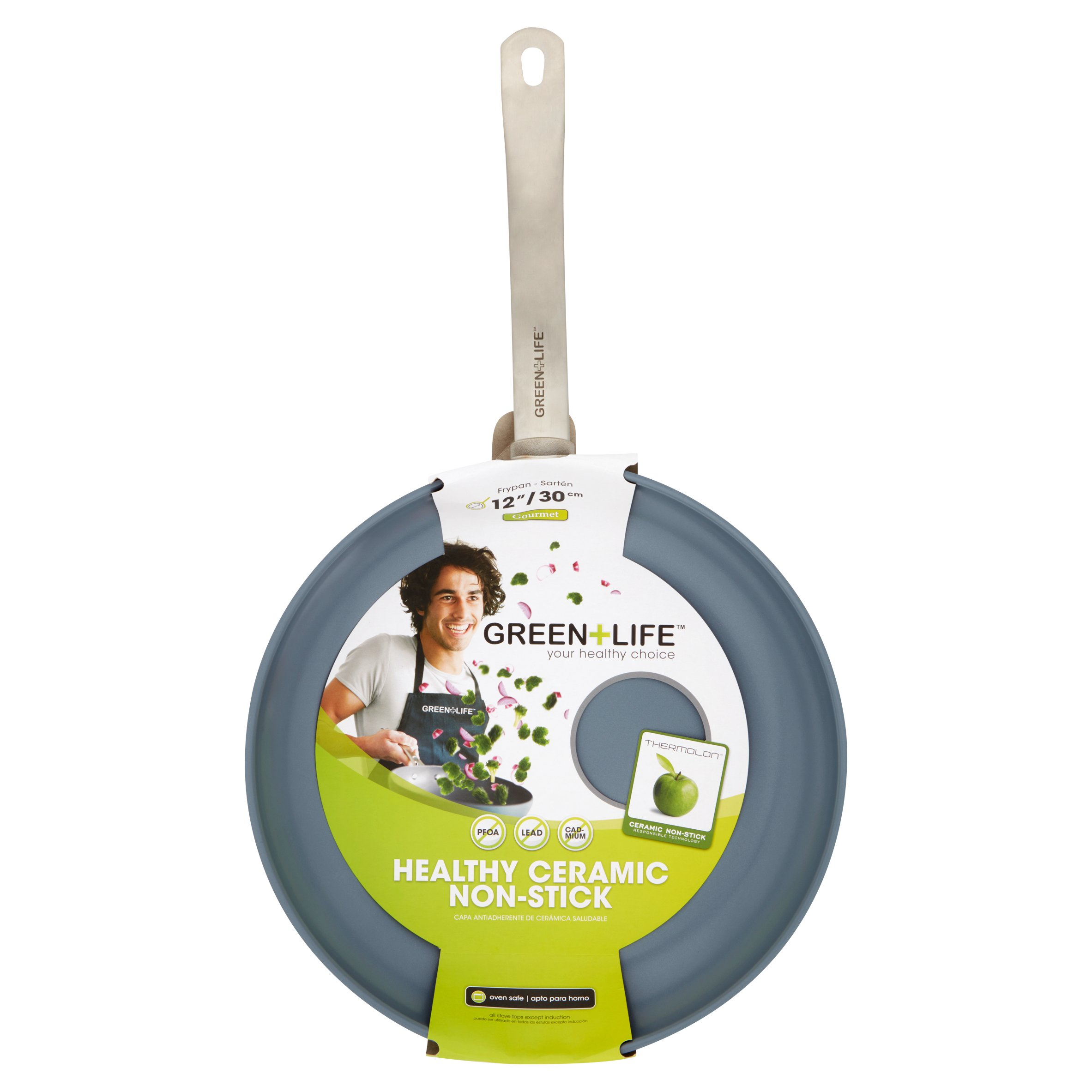 "GreenLife Healthy Ceramic Non-Stick 12"" Gourmet Hard-Anodized Open Fry Pan"