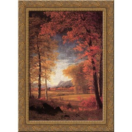 Autumn in America, Oneida County, New York 19x24 Gold Ornate Wood Framed Canvas Art by Bierstadt, Albert