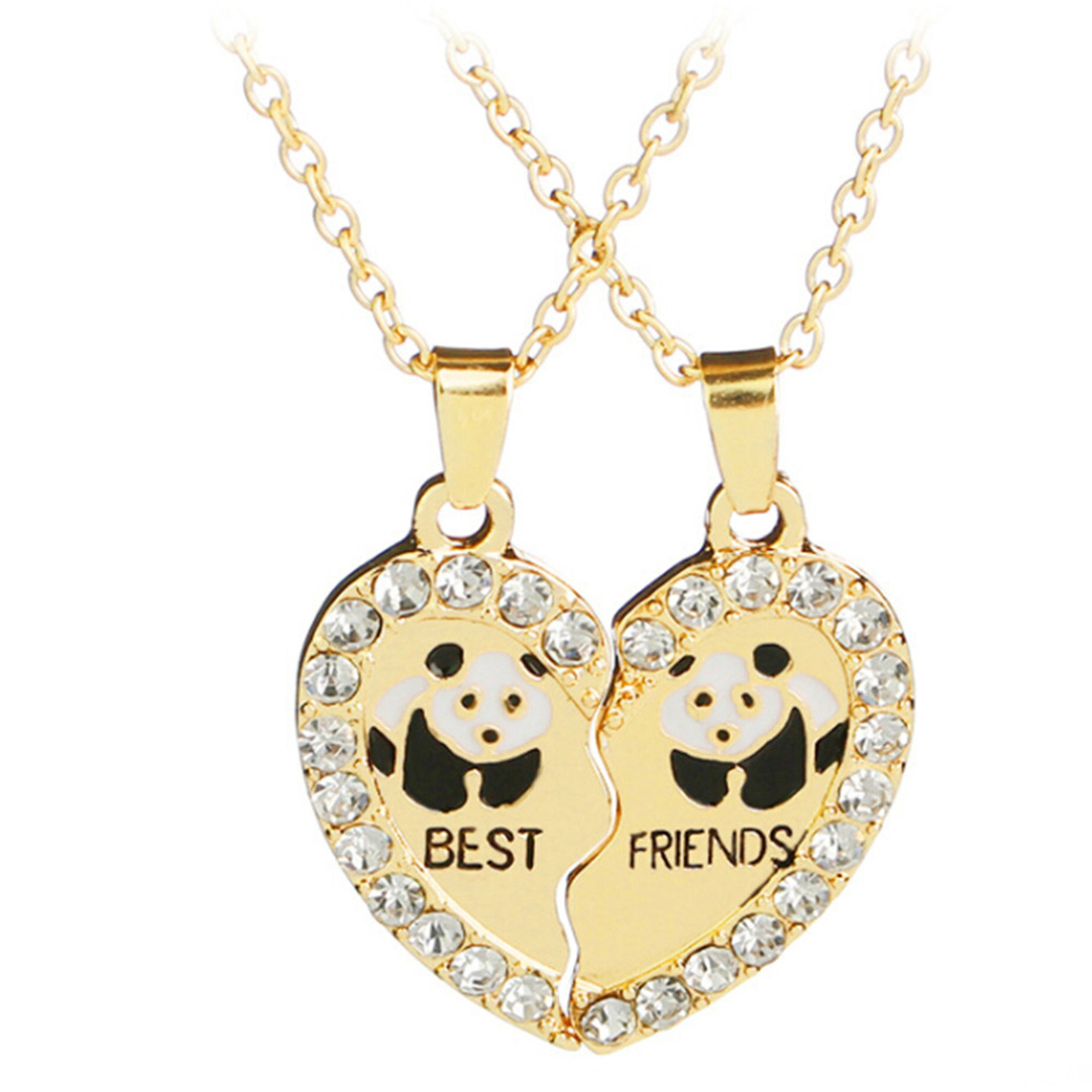 Best Friend  2  Pcs Set Gold Tone Anti-Tarnish Panda Bear Crystals Necklace Friendship Pendant J-295