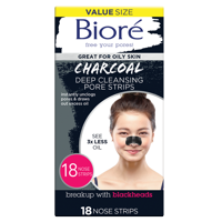 Biore Charcoal, Deep Cleansing Pore Strips, 18 Nose Strips for Blackhead Removal on Oily Skin, with Instant Pore Unclogging, features Natural Charcoal, 3x Less Oily Feeling Skin