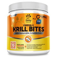 Zesty Paws Omega 3 Krill Fish Oil Soft Chews for Dogs with EPA & DHA for Joints + Skin & Coat, 90 Chews