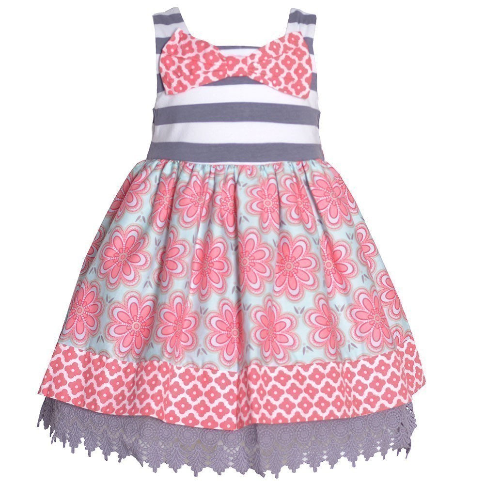 Counting Daisies Little Girls Coral Floral Grey Striped Bow Easter Dress 2T
