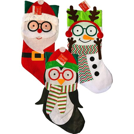 "19"" Christmas Holiday Decorative Fleece Santa, Snowman, & Penguin w/Glasses Stockings (Set of 3)"