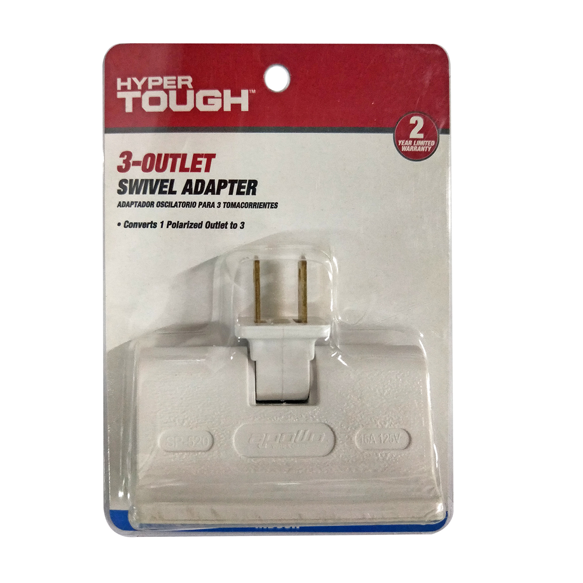 Hyper Tough 3 Outlet Swivel Adapter White, For Indoor use