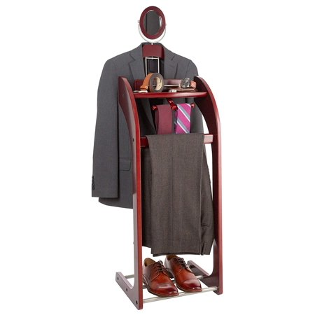 StorageMaid Clothes Valet with Mirror – Beautiful Solid Mahogany Hardwood Wardrobe Stand for Clothes with Trouser Bar, Jacket Hanger, Tray Organizer, Tie & Belt Hook and Shoe Rack