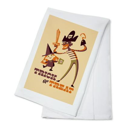 Trick or Treat - Dad & Daughter - Retro Halloween - Lantern Press Artwork (100% Cotton Kitchen Towel)](Beyonce Daughter Halloween)