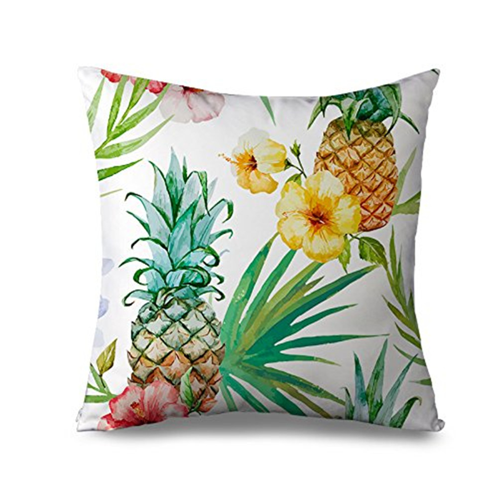 Popeven Tropical Pinapple Pattern Pillow cover Cotton Canvas Decorative Throw Pillow Case Cushion Cover for Sofa or Living Room 18x18''Home Decor