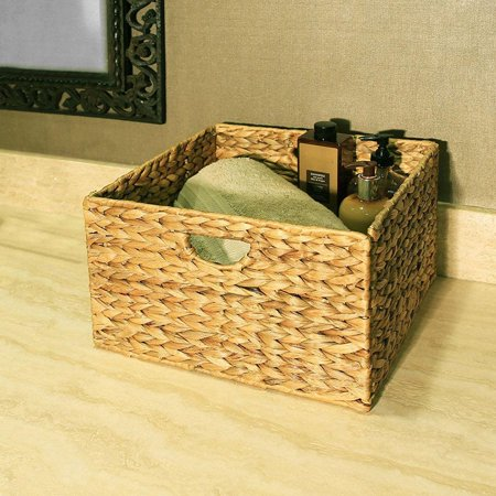 "Ktaxon Hand Woven Water Hyacinth Metal Frame FOLDING Storage Basket CUBE 8"" HIGH"