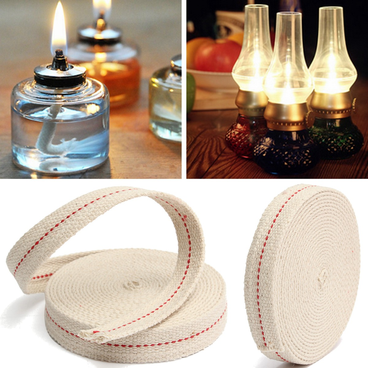 "Oil Lamp Mate 15 Foot Roll 3 4"" Inch Flat Cotton Oil Lantern or Oil Lamp Wick with Purple Stitch by"
