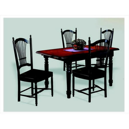 Sunset Trading Butterfly Dining Table in Antique Black with Cherry Finish Top