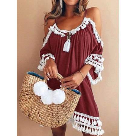 Summer Tassel - Maraso Women Summer Spaghetti Strap Tassel Cold Shoulder Boho Beach Dress Midi Short Sleeve Dress Dress