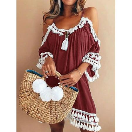 Maraso Women Summer Spaghetti Strap Tassel Cold Shoulder Boho Beach Dress Midi Short Sleeve Dress Dress
