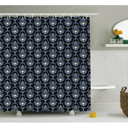 Dark Blue Shower Curtain Vintage Royal Damask Motifs Swirls Curvy Tile Victorian Fashion Fabric