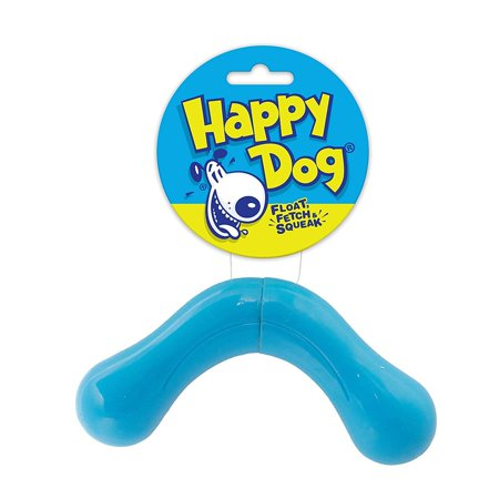 - HappyDog Happy Dog Fetch & Squeak Boomerang Bone Toy For Dogs
