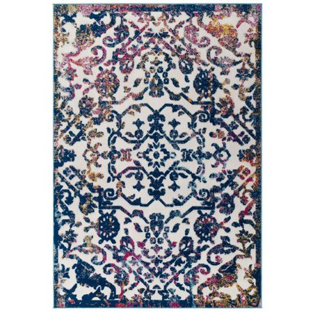 Image of Reflect Primrose Distressed Vintage Ornate Floral Lattice 8x10 Indoor and Outdoor Area Rug in Ivory, Dark Blue, Multicolored