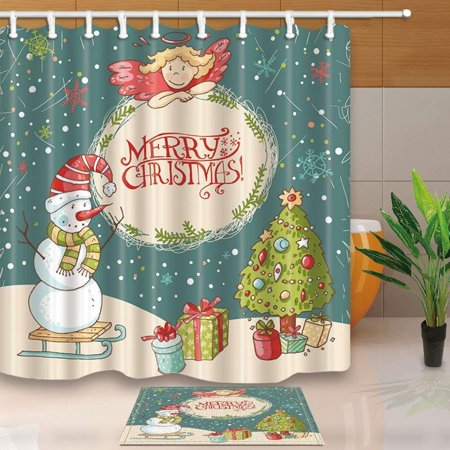 RYLABLUE Christmas Decor Snowman Christmas Tree and Gift Shower Curtain 66x72 inches with Floor Doormat Bath Rugs 15.7x23.6 inches - image 1 of 1