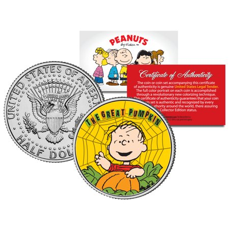 Peanuts HALLOWEEN GREAT PUMPKIN LINUS WEB JFK Half Dollar U.S. Coin *Licensed - Peanuts Halloween Settings