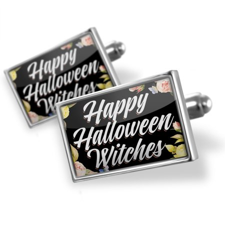Cufflinks Floral Border Happy Halloween Witches - - Halloween Cufflinks