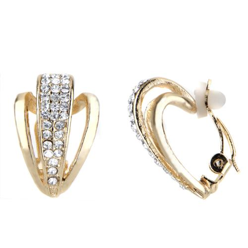 Rhinestone Half Hoop Clip On Earrings