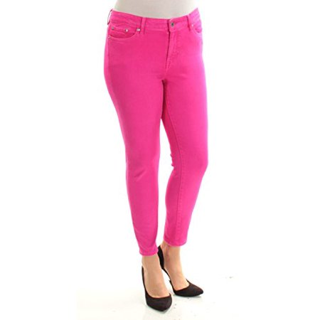 Lauren Ralph Lauren Womens Cropped Mid-Rise Skinny Jeans Pink (Lauren Three Button Jeans)