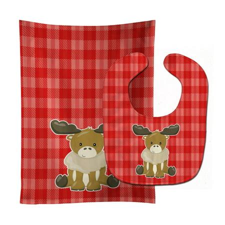- Moose on Red Plaid Baby Bib & Burp Cloth