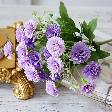 Artificial Bouquet 20 Heads Lilac Silk Flowers for Wedding Party Office Hotel Home Decoration Color:Light Purple ()