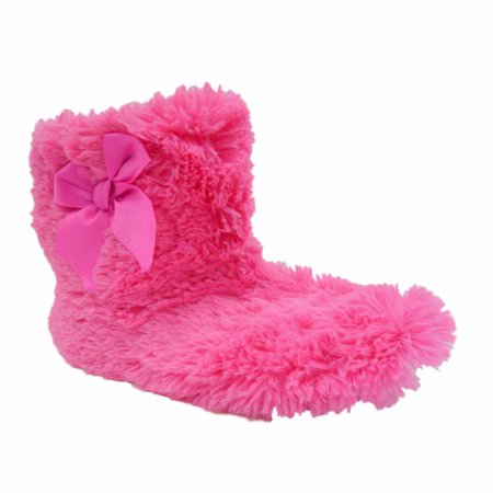 b54bff425d6 Joe Boxer - Joe Boxer Womens Pink Faux Fur Boot Style Slippers Grippers  Fuzzy Booties Large - Walmart.com